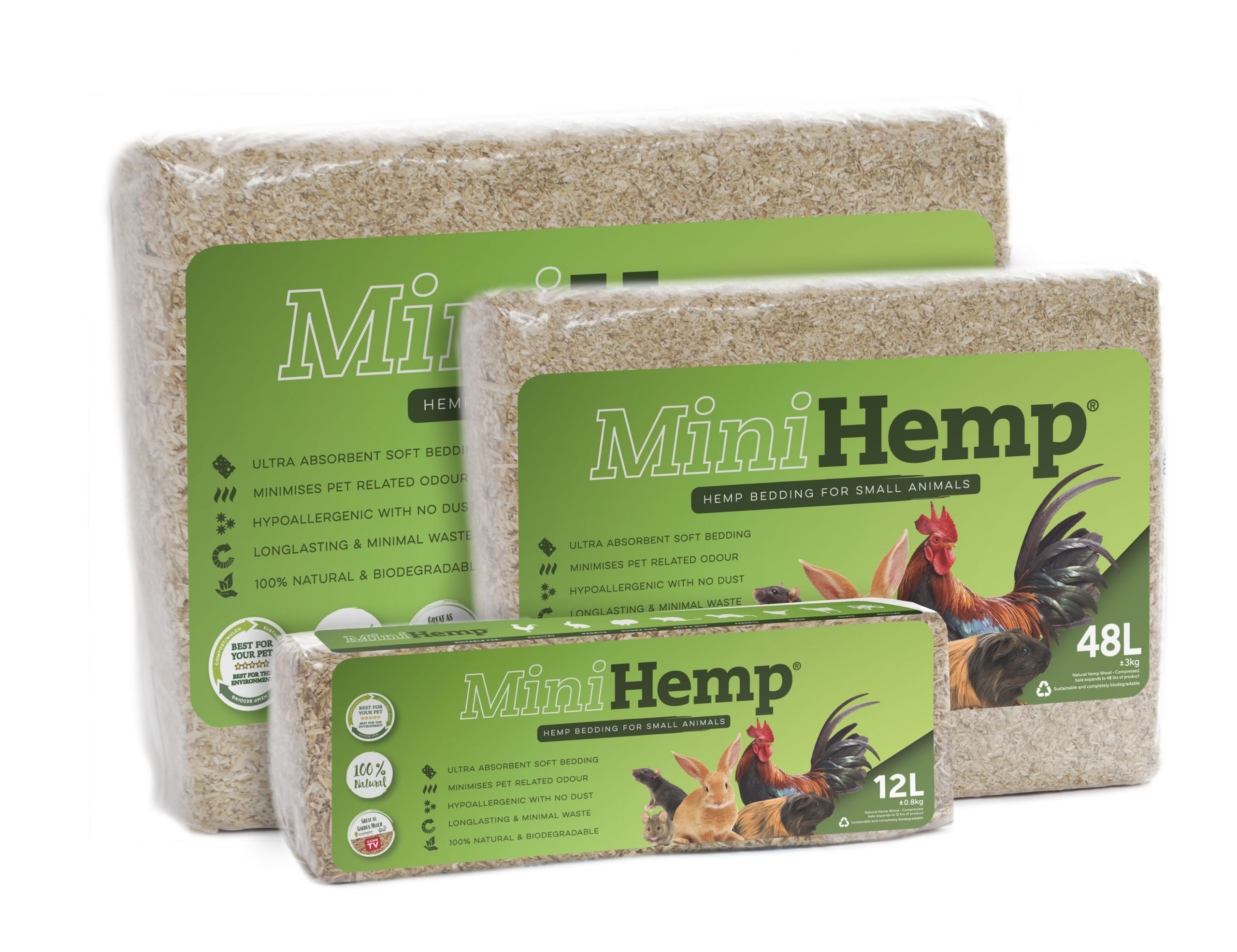 MiniHemp Hurd animal bedding for small animals, birds, chickens, rats and mice.